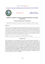 RP-HPLC method for estimation of itopride hydrochloride from tablets dosage form