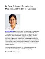 Dr Runa Acharya – Reproductive Medicine And Infertility in Hyderabad