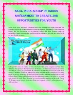 Skill india a step of indian government to create job opportunities for youth