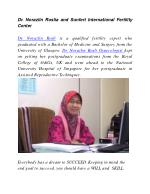 Dr. Norazlin Roslia and Sunfert International Fertility Center