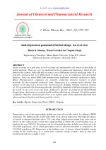 Anti-depression potential of herbal drugs: An overview