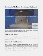 Looking for The Latest Cryotherapy Equipment
