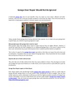 Garage Door Repair Should Not Be Ignored