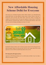 New Affordable Housing Scheme Delhi for Everyone