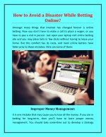 How to Avoid a Disaster While Betting Online?