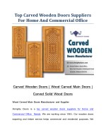 Carved Wooden Doors | Wood Carved Main Doors | Carved Solid Wood Doors