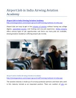 Airport Job in India Airwing Aviation Academy