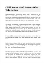 Child Actors Need Parents Who Take Action