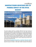 Manufacturing Industries and Its Possible Impact on the Stock Market