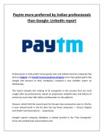 Paytm more preferred by indian professionals than google linkedin report