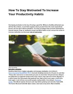 How To Stay Motivated To Increase Your Productivity Habits