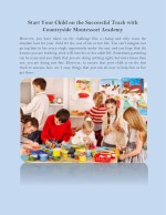 Start Your Child on the Successful Track with Countryside Montessori Academy