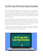 CA CPT June 2018 Exam Paper Download