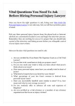 Vital Questions You Need To Ask Before Hiring Personal Injury Lawyer