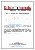 Shuttle from Minneapolis Airport to Rochester – Book Online