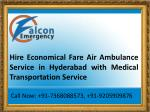 Commercial Air Ambulance Service in Hyderabad with Paramedic Technician