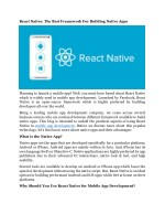 React Native: The Best Framework for Building Native Apps