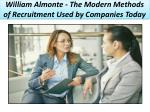 William Almonte – The Modern Methods of Recruitment Used by Companies Today