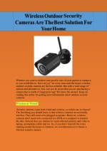 Security Cameras Are The Best Solution For Your Home