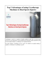 Top 5 Advantages of using Cryotherapy Machines to Heal Sports Injuries