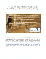 Five Salient Factors to Help You Develop a Hard-Hitting Restaurant Marketing Strategy