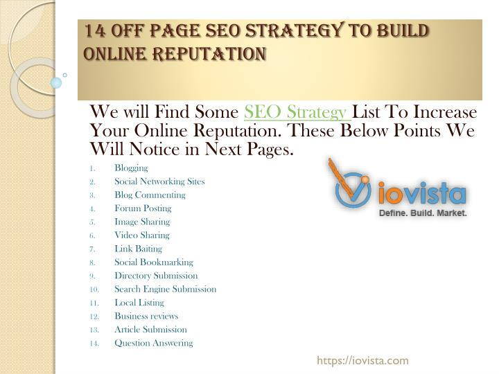 PPT - 14 Off Page SEO Strategy to put together Online Reputation
