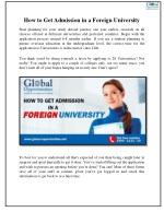How to Get Admission in a Foreign University