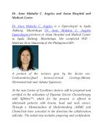 Dr. Anne Mahalia C. Angeles and Asian Hospital and Medical Center