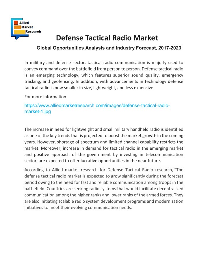 PPT - Defense Tactical Radio Market PowerPoint Presentation - ID:7828011