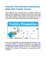 Enhance Your Business Marketing With 2018 Twitter Trends