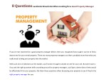 8 Questions Landlords Should Ask When Looking for a Good Property Manager