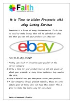 It Is Time to Widen Prospects with eBay Listing Services