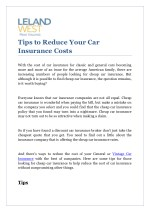 Tips to Reduce Your Car Insurance Costs