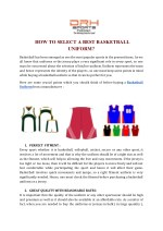 HOW TO SELECT THE BEST BASKETBALL UNIFORM