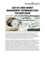List Of 3 Best Money Management Techniques That You Must Know