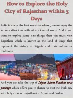 How to Explore the Holy City of Rajasthan within 3 Days