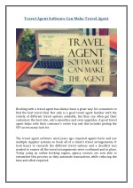 Travel Agent Software Can Make Travel Agent