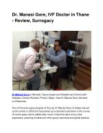 Dr. Manasi Gore, IVF Doctor in Thane – Review, Surrogacy