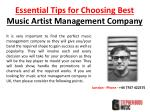 Essential Tips for Choosing Best Music Artist Management Company