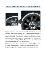 Helpful Guides to Strengthen Your Car's Bent Rim