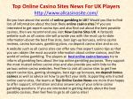 Top Online Casino Sites News For UK Players