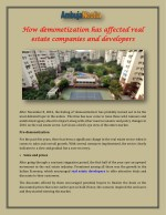 How demonetization has affected real estate companies and developers