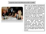 Corporate Event Wedding Entertainment Agency in London
