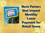 Key Considerations that Impact Monthly Lease Payment for Retail Store