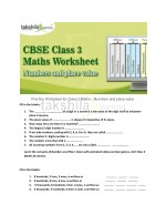Practice Worksheet for Class 3 Maths - Numbers and place value