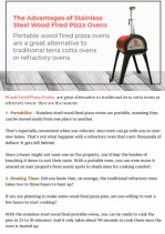 Advantages of Stainless Steel Wood Fired Pizza Oven