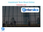 Investment Term Sheet Online