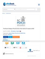 Psychiatry International Conference in UK, Birmingham 2018 | RCPsych Conference 2018 | EPA Congress 2018 |UK Psychiatry