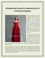 Is Bridesmaid Dresses An Important Part In A Christian Wedding?