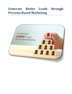Generate better leads through persona based marketing